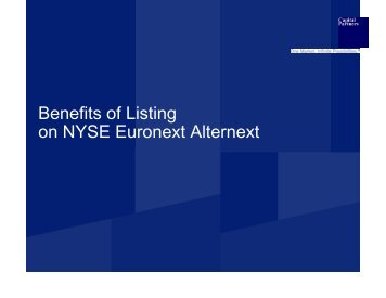 Benefits of Listing on NYSE Euronext Alternext