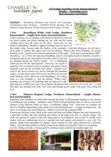 North Damaraland and Etosha Operator