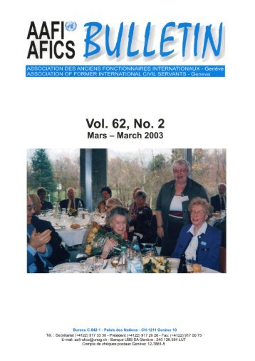 Vol. 62, No. 2 Mars/March 2003 - AAFI-AFICS, Geneva - UNOG