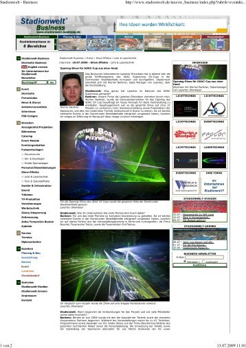 Stadionwelt - Business - Lasertec-Showlaser