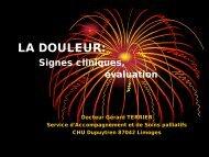 LA DOULEUR: Signes cliniques, évaluation