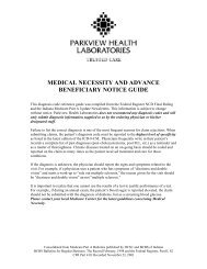 Medical Necessity Guide - Parkview Health Laboratory