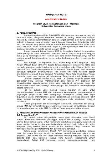 MANAJEMEN MUTU - USU Library - Universitas Sumatera Utara