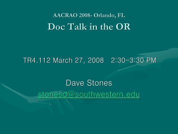 Orlando, FL Doc Talk In The OR - AACRAO
