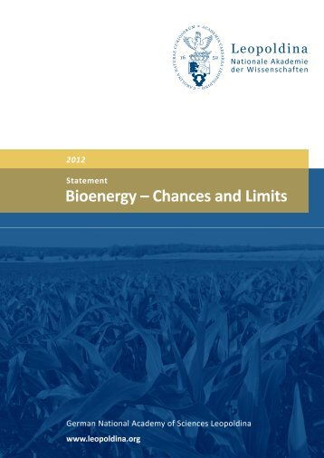 Bioenergy – Chances and Limits