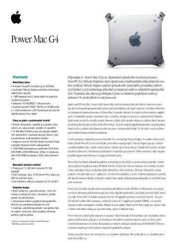 Power Mac G4 Data Sheet - Quentin