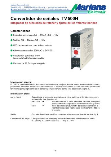 TV500H-00- Prospekt - Martens Elektronik GmbH