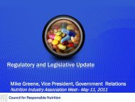 Regulatory and Legislative Update - NIA West