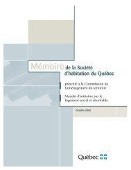 Mémoire de la Société d'habitation du Québec présenté à la ...