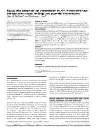 Sexual risk behaviour for transmission of HIV in men who have sex ...