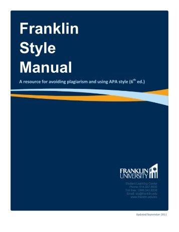 Franklin Style Manual - Writing @ Franklin University