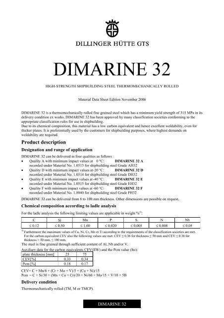 DIMARINE 32 - Dillinger Hütte GTS