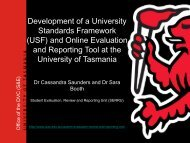 Development of a University Standards Framework (USF) and Online ...