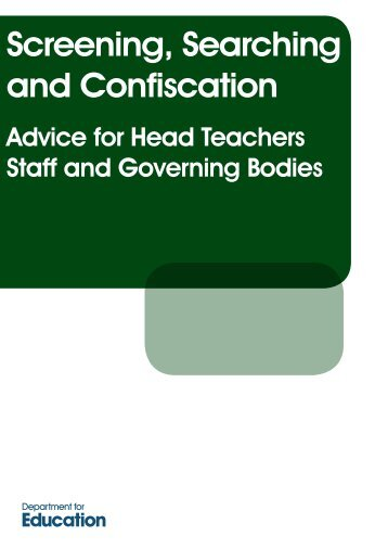 Screening, Searching and Confiscation - Department for Education