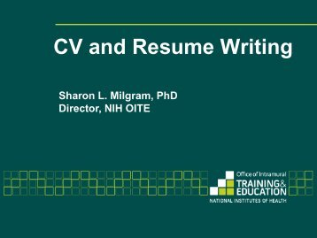 Slides: CV and Resume Writing BLITZ - Office of Intramural Training ...