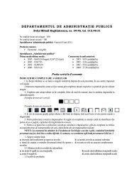 DEPARTAMENTUL DE ADMINISTRAŢIE PUBLICĂ Proba ... - CIOCP