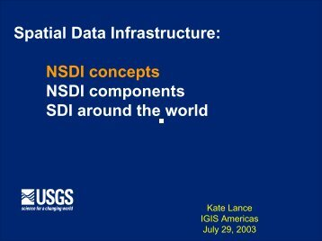 Spatial Data Infrastructure: NSDI concepts NSDI components SDI ...