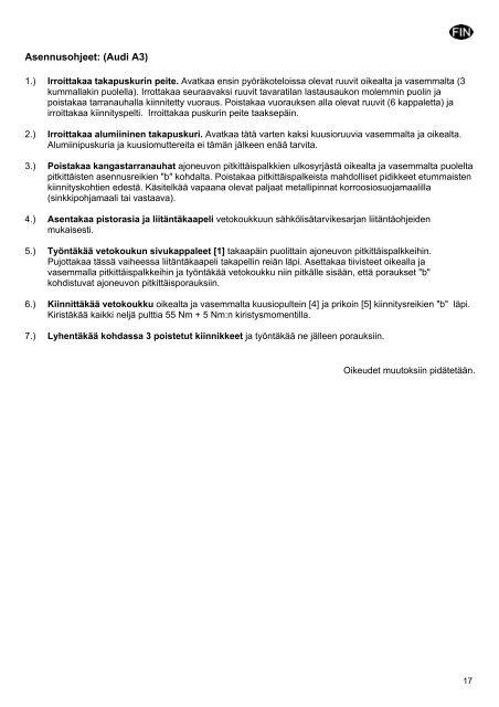 Montage- und Betriebsanleitung Montážní a provozní ... - Kfzpoint