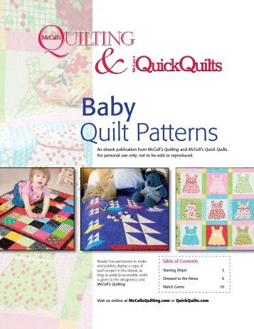 Baby Quilt Patterns - McCalls Quilting