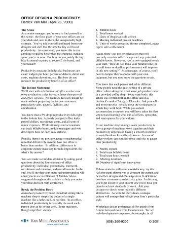 Office Design and Productivity - Van Mell Associates