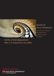 SGAM AI Pierre Patrimoine NOTE D'INFORMATION Mise à la ...