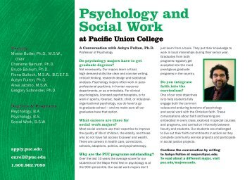 Psychology and Social Work - Pacific Union College