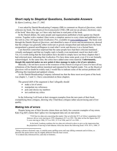 Short reply to Skeptical Questions, Sustainable Answers