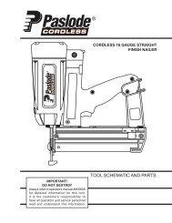 Tool Schematic And Parts 226 Cordless Framing Nailer