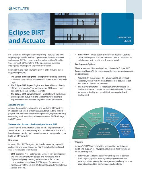 Eclipse BIRT and Actuate - Why Actuate?