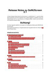 Release Notes zu GeNUScreen 2.1 Achtung! - GeNUA
