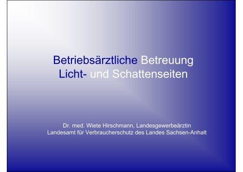 Betriebsärztliche Betreuung Licht- und Schattenseiten - Sidi Blume