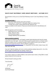 South east Autumn 2013 User Group meeting invite - Canal & River ...