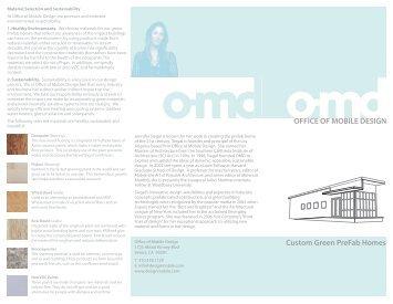 OFFICE OF MOBILE DESIGN Custom Green Prefab Homes