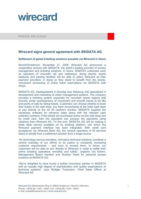 Wirecard Signs General Agreement With Skidata Ag