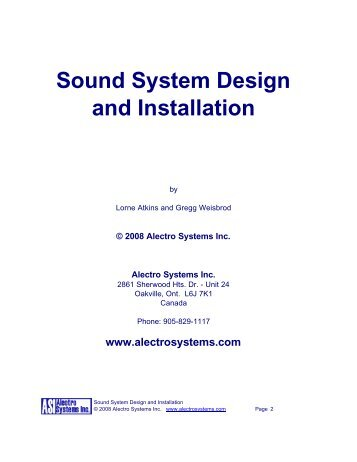 Sound System Design and Installation - Alectro Systems Inc.