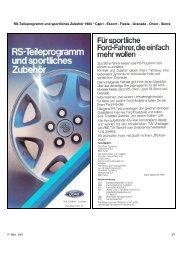 RS-Teileprogramm und sportliches Zubehör 1984 * Capri - Escort ...