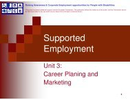 Unit 3: Career planning and marketing
