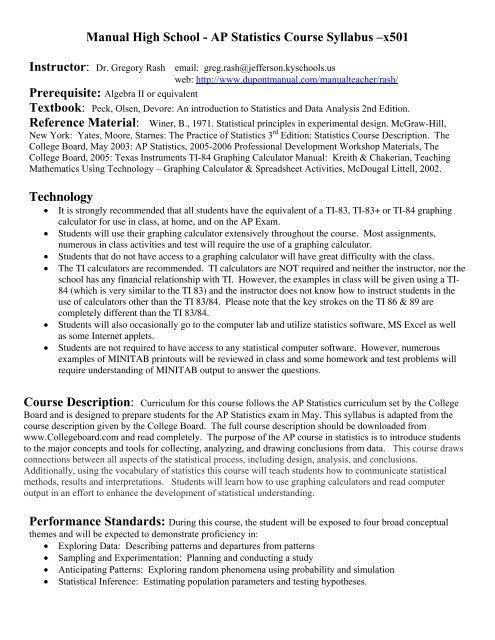 Statistics Course Description High School Quantum Computing