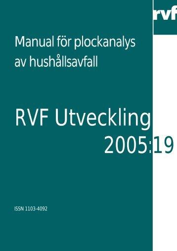U 2005:19 Manual för plockanalys av hushållsavfall - Avfall Sverige