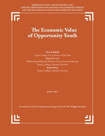 The Economic Value of Opportunity Youth - Civic Enterprises
