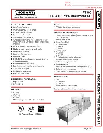 ft900d dual rinse flight type dishwasher hobart rh yumpu com Hobart FT900 Wiring-Diagram Hobart Commercial Dishwashers Parts
