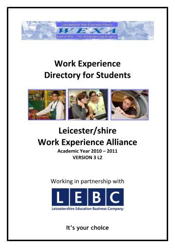 Work Experience Directory for Students Leicester/shire Work ...