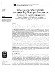 Effects of product design on assembly lines performances