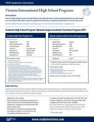 Victoria International High School Programs