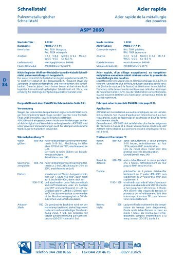 D 34 Schnellstahl Acier rapide ASP® 2060