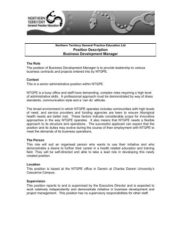 Position Title Manager Business Development Position Overview