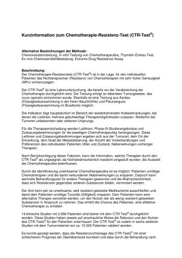 Kurzinformation zum Chemotherapie-Resistenz-Test (CTR-Test )