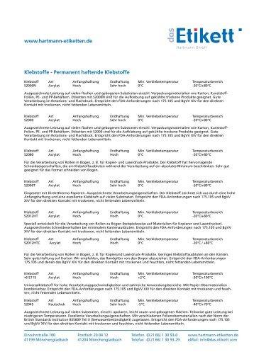 Klebstoffe - Etiketten