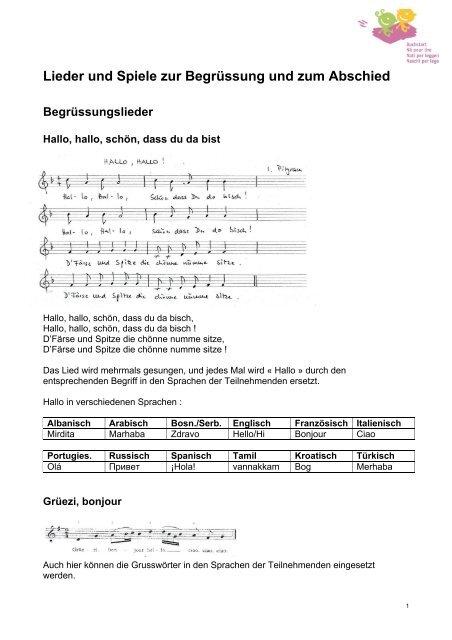 Lieder Und Spiele Zur Begrüssung Und Zum Abschied Pdf