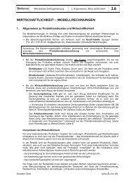 WIRTSCHAFTLICHKEIT – MODELLRECHNUNGEN - Aviforum